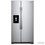 Whirlpool WRS335SDHM Side by Side Refrigerator, 36 Width, Thru Door Ice Dispenser, 25.5 Capacity, Exterior Water Dispenser, LED Lighting, Stainless Steel colour