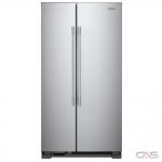 Whirlpool WRSA15SNHZ Side by Side Refrigerator, 36 Width, Optional Ice Maker (Special Order), 25.1 Capacity, LED Lighting, Fingerprint Resistant, Stainless Steel colour