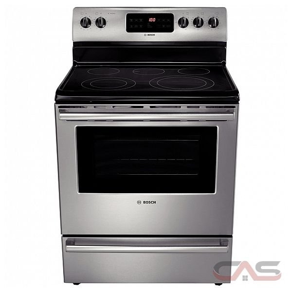 "Bosch (HES5053C) Evolution 500 Series Free-Standing Electric Range, 4 elements + warming zone, 2 dual elements including 12"", broil wattage 3600 Watts, 5.4 cu.ft convection oven, 4 cooking modes"