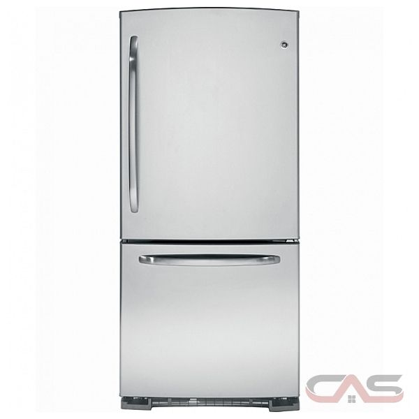 GE GDRS3KBYRSS Bottom Mount Refrigerator with Pull Out Drawer, 22.8 Cu. Ft. Energy Star, Upfront Temperature Controls, NeverClean Condenser, FrostGuardTM technology and 4 Glass Shelves