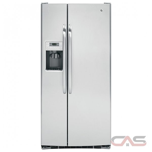 GE GSRS3QGZSS Side by Side Refrigerator, 33in, 23.1 cu.ft, with AutoEnergy saver technology, External Dispenser, Digital temperature controls and Child Lock/Door Alarm