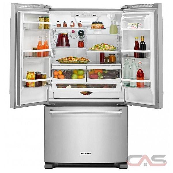 Kitchenaid krfc300ebl refrigerator canada best price reviews and specs for Interior water dispenser refrigerator