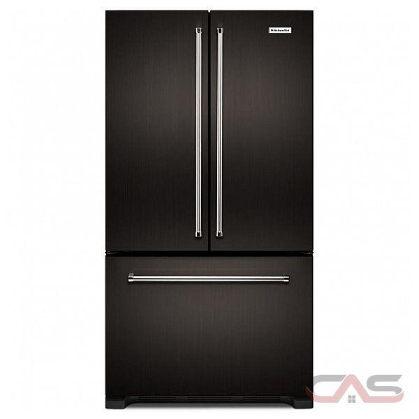 "Kitchenaid Black Stainless Steel French Door Refrigerator: KitchenAid KRFC302EBS French Door Refrigerator, 36"" Width, Freezer Located Ice Dispenser, 21.9"