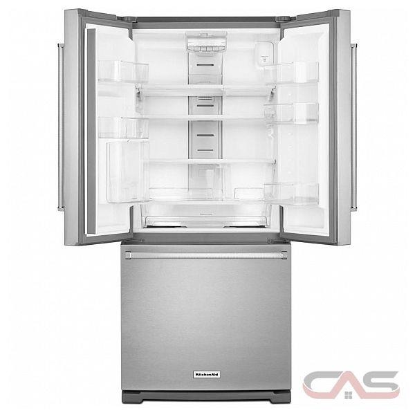Kitchenaid krff300ewh french door refrigerator 30 width freezer located ice dispenser 19 7 for Interior water dispenser refrigerator