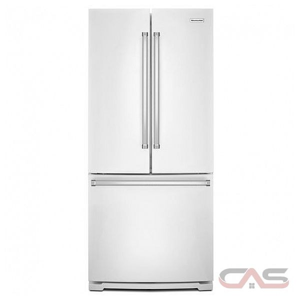 "Kitchenaid 30 19 7 Cu Ft French Door Refrigerator With: KitchenAid KRFF300EWH French Door Refrigerator, 30"" Width, Freezer Located Ice Dispenser, 19.7"