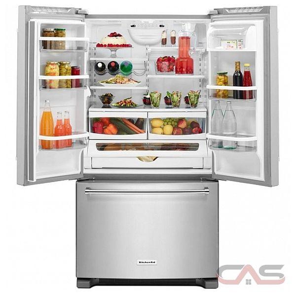 kitchenaid krff305ewh french door refrigerator 36 width freezer
