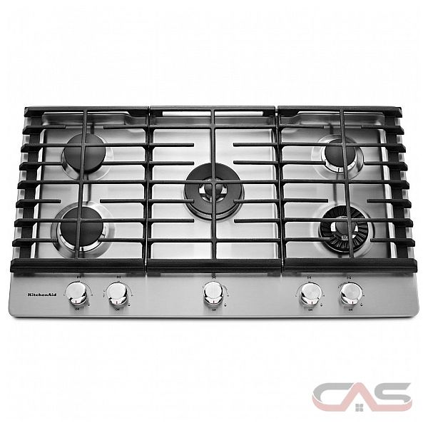 KitchenAid KCGS956ESS Cooktop, Gas Cooktop, 36 Inch, 5 Burners, Stainless  Steel
