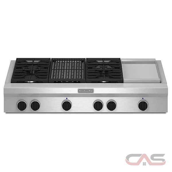 KitchenAid KGCU484VSS Rangetop, Gas Cooktop, 48 inch, 4 Burners, Stainless Steel colour