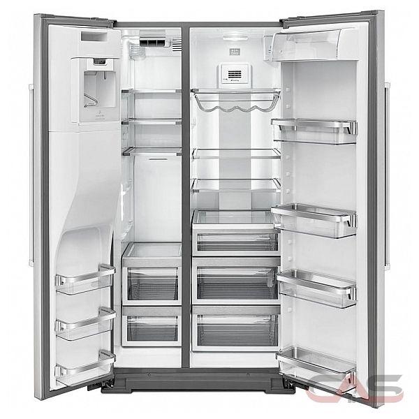 kitchenaid krsf505ewh side by side refrigerator 36 width