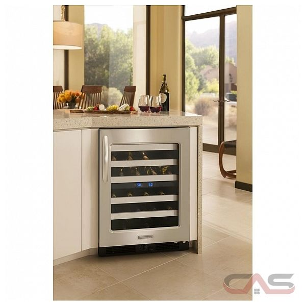 Kitchen aid kuws24rsbs built in under counter wine cooler - Kitchens with wine coolers ...