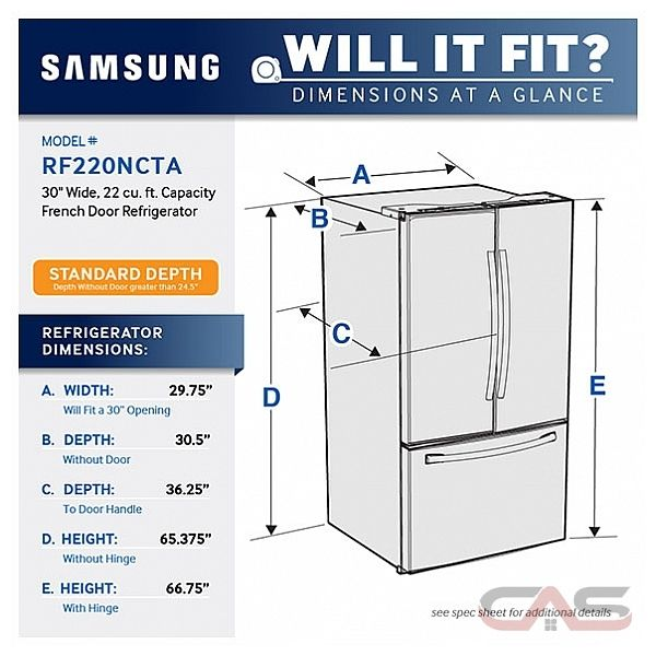 Best French Door Refrigerator >> RF220NCTASR Samsung Refrigerator Canada - Best Price, Reviews and Specs - Toronto, Ottawa ...