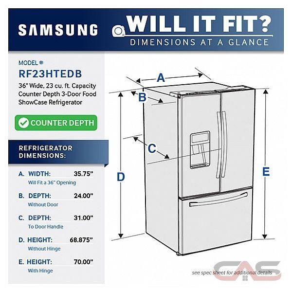 36 Refrigerator Counter Depth Samsung RF23HTEDBSR Refrigerator Canada - Save $1,006.99 ...
