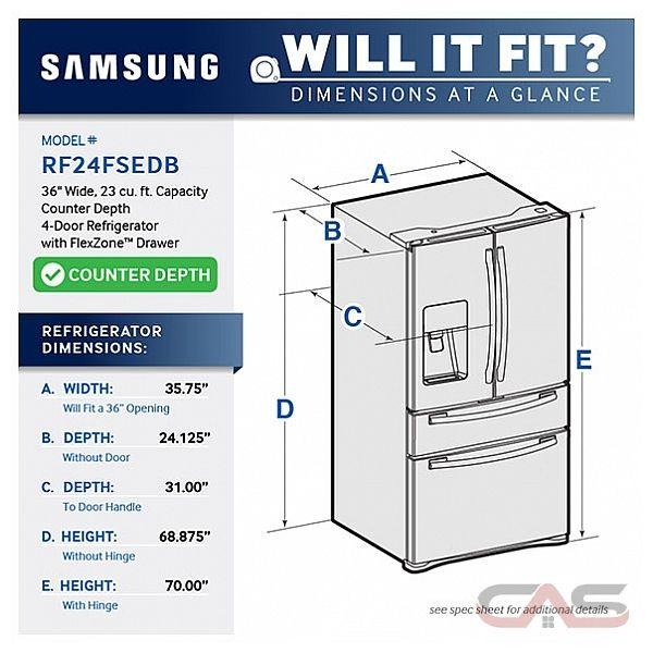 Samsung rf24fsedbsr french door refrigerator 36 quot width thru door ice