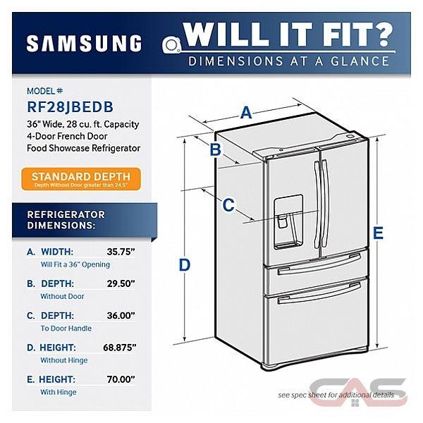 "Samsung RF28JBEDBSG French Door Refrigerator, 36"" Width ..."