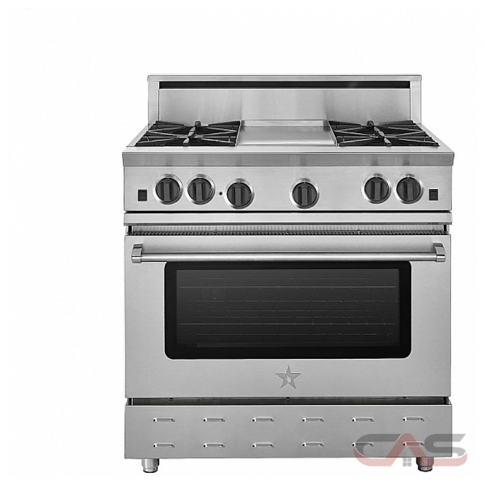 Blue Star RNB364FTV2 Range, Gas Range, 36 Exterior Width, Convection, 4  Burners, Open Burners (Gas), 5 04 Capacity, 1 Ovens, Free Standing, 22K