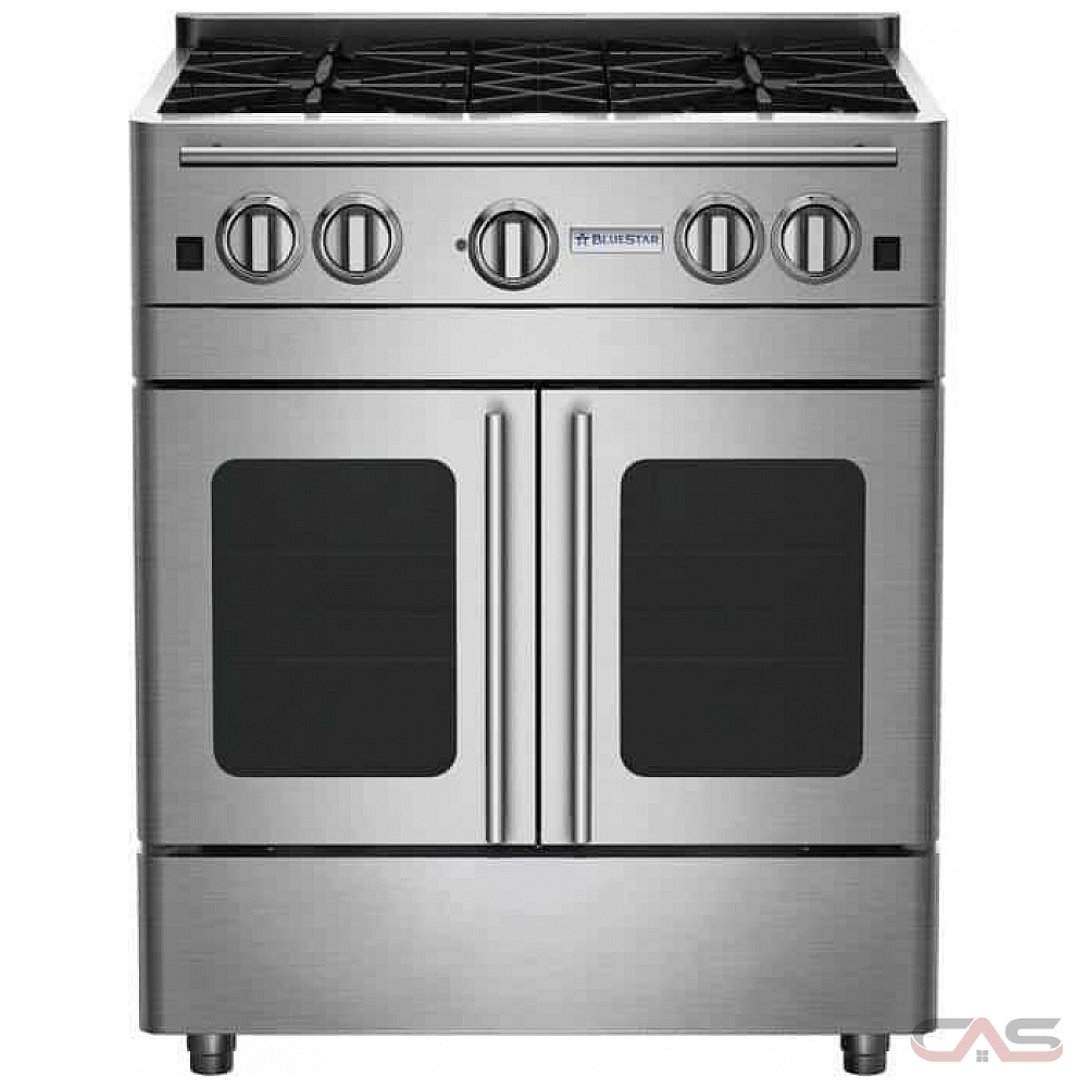 BlueStar RNB304BPMV2, Gas Range, 30 Exterior Width, Convection, 4 Burners,  Open Burners (Gas), 4 6 Capacity, 1 Ovens, Free Standing, 22K, Stainless