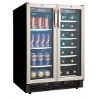 "Danby DBC2760BLS 23"" Built-in Beverage Center/Wine Cooler with 5.0 cu. ft. & 27 Bottle Capacity, French Doors and Two Temperature Zones"