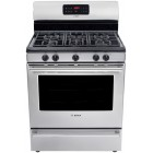 Bosch (HGS5053UC) Evolution 500 Series Free-Standing Gas Range, 5 sealed burners including oval shaped bridge burner, 5k to 16k BTU, 500 BTU simmer, cast-iron matte grates, porcelain steel cooktop, 5.