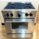 BlueStar RCS Series RCS304-IR 30in Gas Range with 4 Open Burners, Removable Drip Trays, Ceramic Infrared Broiler and 6 in Backguard