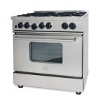 BlueStar RCS Series RCS366-IR 36 in Gas Range with 6 Open Burners, Removable Drip Trays and Ceramic Infrared Broiler