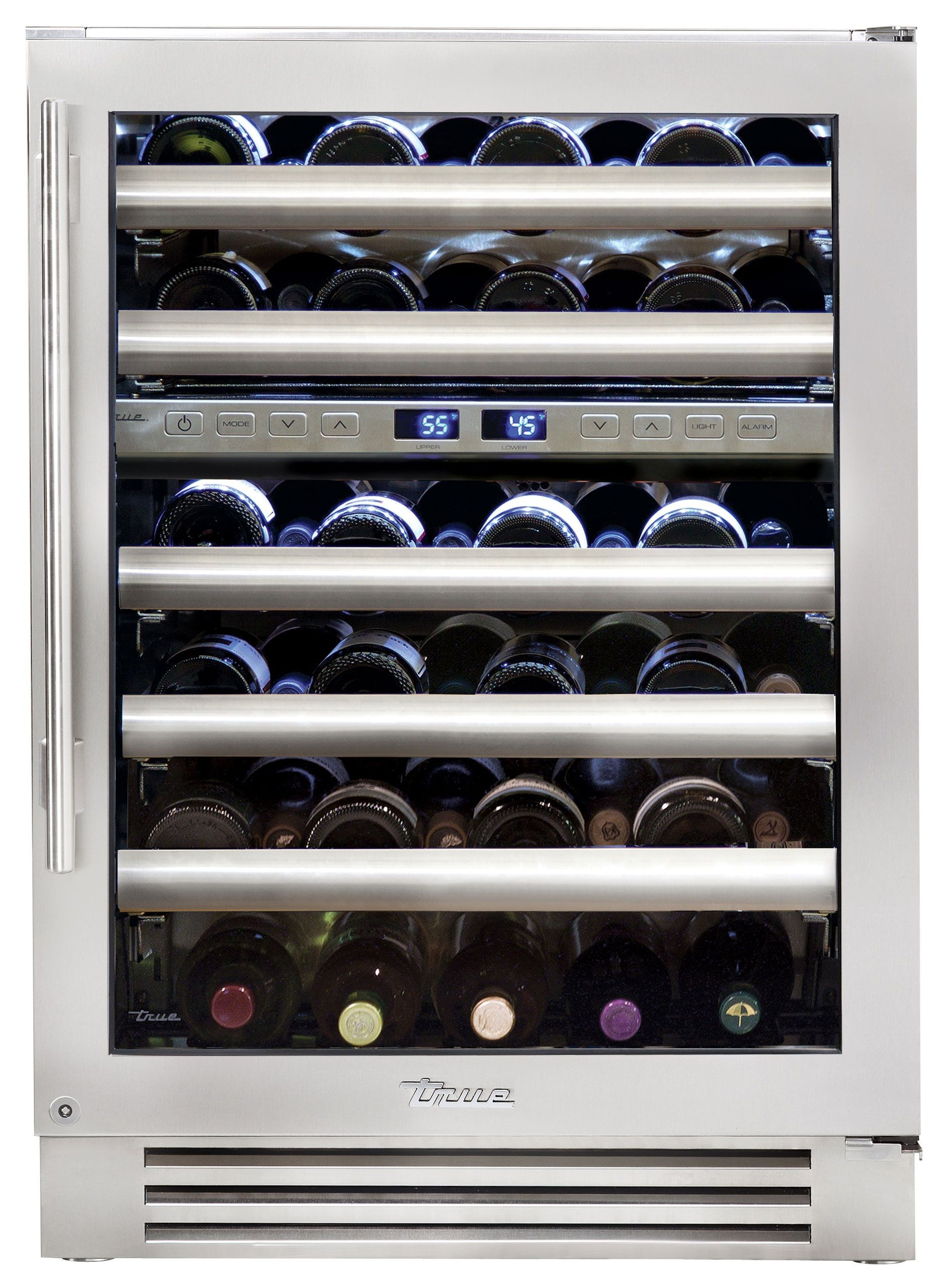 True Professional Series TWC-24DZ-R-SG-A Wine Cabinet, 45 bottle capacity, Zero-clearance hinging, Patented TriLumina LED lighting, 5 glide out wine racks and 1 floor cradle, 2 independent zones