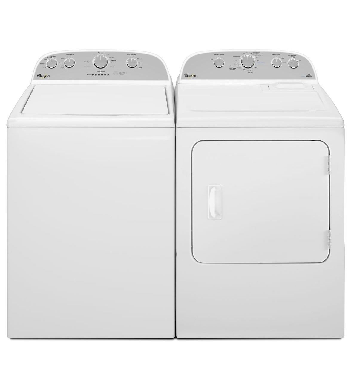 "Whirlpool WTW5000DW & YWED49STBW, Top Load Washer, 27 1/2"" Width, 5.0 Cu. Ft. Capacity, 12 Wash Cycles, 5 Temperature Settings, Dryer, 30 3/4"" Width, Electric Dryer, 7.0 Cu. Ft. Capacity, 12 Dry Cycles"