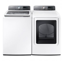 Samsung WA48J7770AW 5.5 cu. ft, Top Load Washer<br>Samsung DV48J7770EW 7.4 cu.ft, Electric Dryer