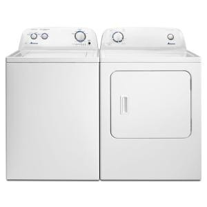 "Amana NTW4516FW & YNED4655EW, Top Load Washer, 27 1/2"" Width, 4.0 Cu. Ft. Capacity, 9 Wash Cycles, 700 Washer Spin Speeds (RPM), Dryer, 29"" Width, Electric Dryer, 6.5 Cu. Ft. Capacity, 11 Dry Cycles"
