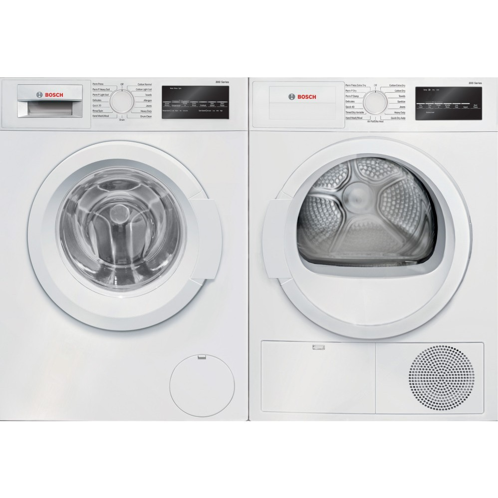 "Bosch WAT28400UC & WTG86400UC, 300 Series Compact Washer, 24"" Width, ENERGY STAR Certified, 2.2 Capacity, 15 Wash Cycles Apartment Size, 300 Series Dryer, 24"" Width, Electric Dryer, 4.0 Capacity, 15 Dry Cycles"