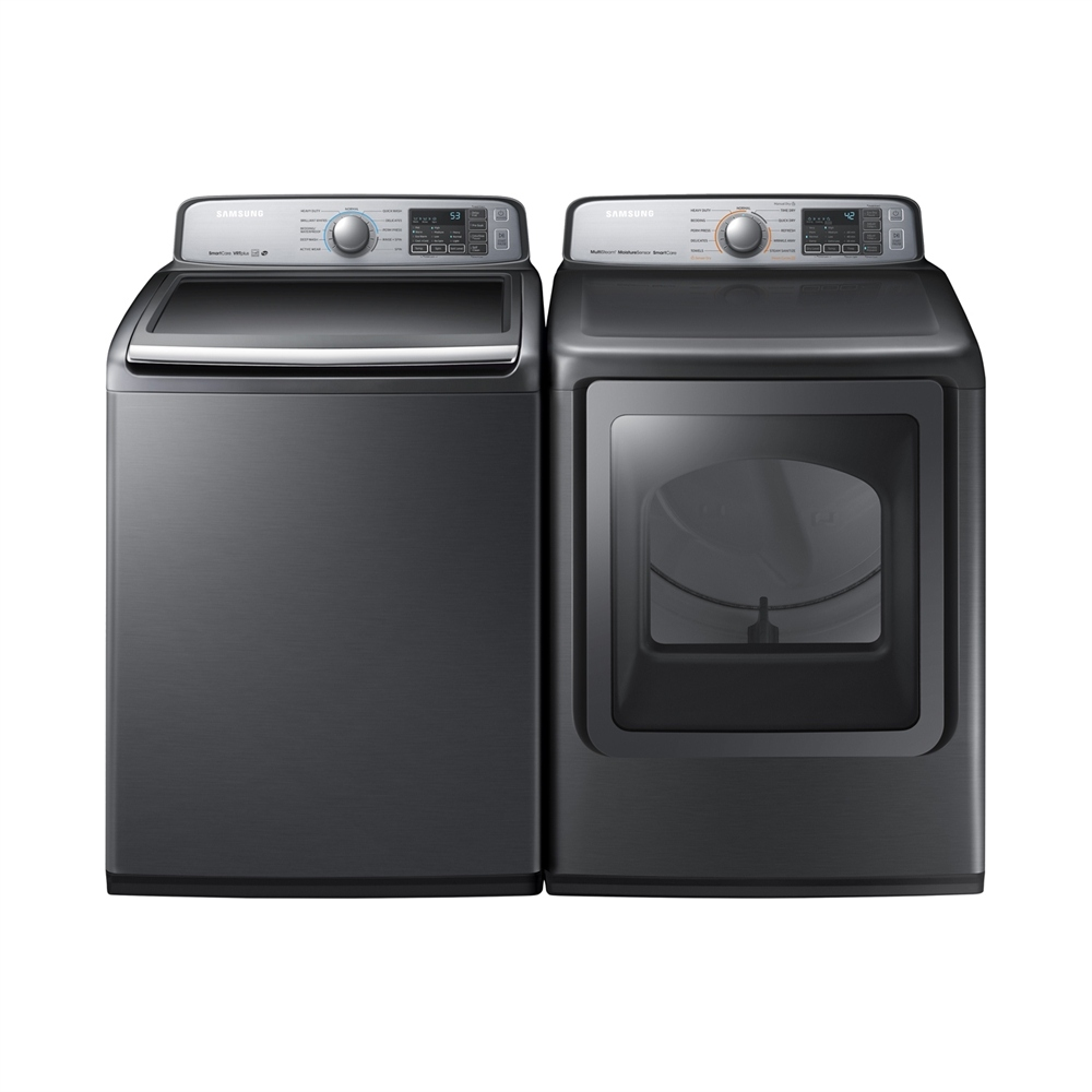 "Samsung WA50M7450AP & DVE50M7450P, Top Load Washer, 27"" Width, Energy Efficient, 5.8 Cu. Ft. Capacity, 11 Wash Cycles, Dryer, 27"" Width, Electric Dryer, 7.4 Cu. Ft. Capacity, 1 Dry Cycles"