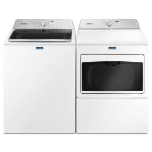 "Maytag MVWB765FW & YMEDB765FW, Top Load Washer, 27 1/2"" Width, 5.4 Cu. Ft. Capacity, 11 Wash Cycles, 5 Temperature Settings, Dryer, 27"" Width, Electric Dryer, 7.4 Cu. Ft. Capacity, 9 Dry Cycles"