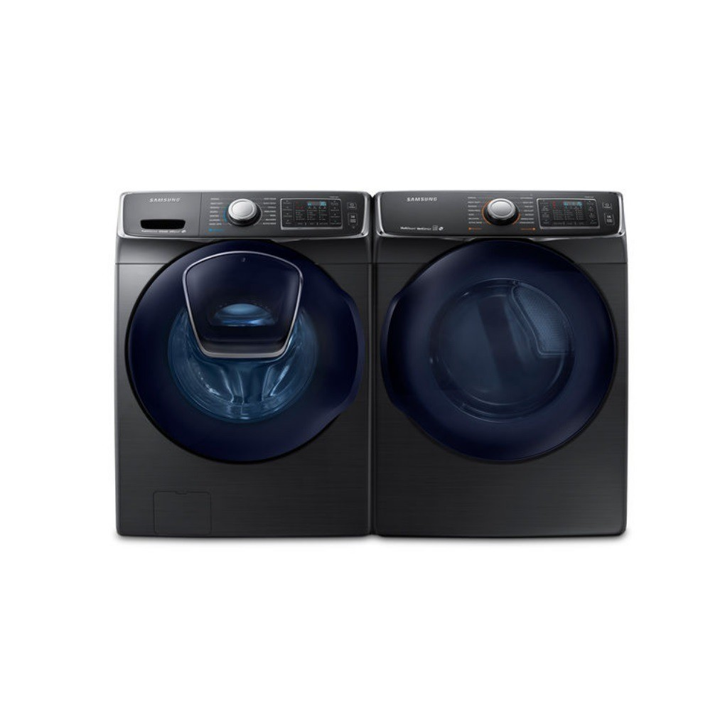 "Samsung WF45K6500AV & DV45K6500EV, Front Load Washer, 27"" Width, Energy Efficient, 5.2 Cu. Ft. Capacity, 12 Wash Cycles, Dryer, 27"" Width, Electric Dryer, 7.5 Cu. Ft. Capacity, 14 Dry Cycles"