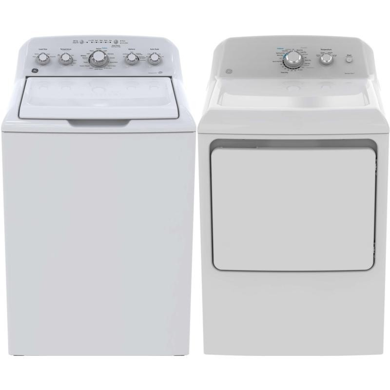 "GE GTW460BMMWW & GTD40EBMKWW, Top Load Washer, 27"" Width, 4.9 Capacity, 14 Wash Cycles, 6 Temperature Settings, Dryer, 27"" Width, Electric Dryer, 7.2 Capacity, 6 Dry Cycles"