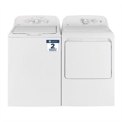 "GE GTW330BMMWW & GTD40EBMKWW, Top Load Washer, 27"" Width, 4.4 Capacity, 11 Wash Cycles, 6 Temperature Settings, Dryer, 27"" Width, Electric Dryer, 7.2 Capacity, 6 Dry Cycles"