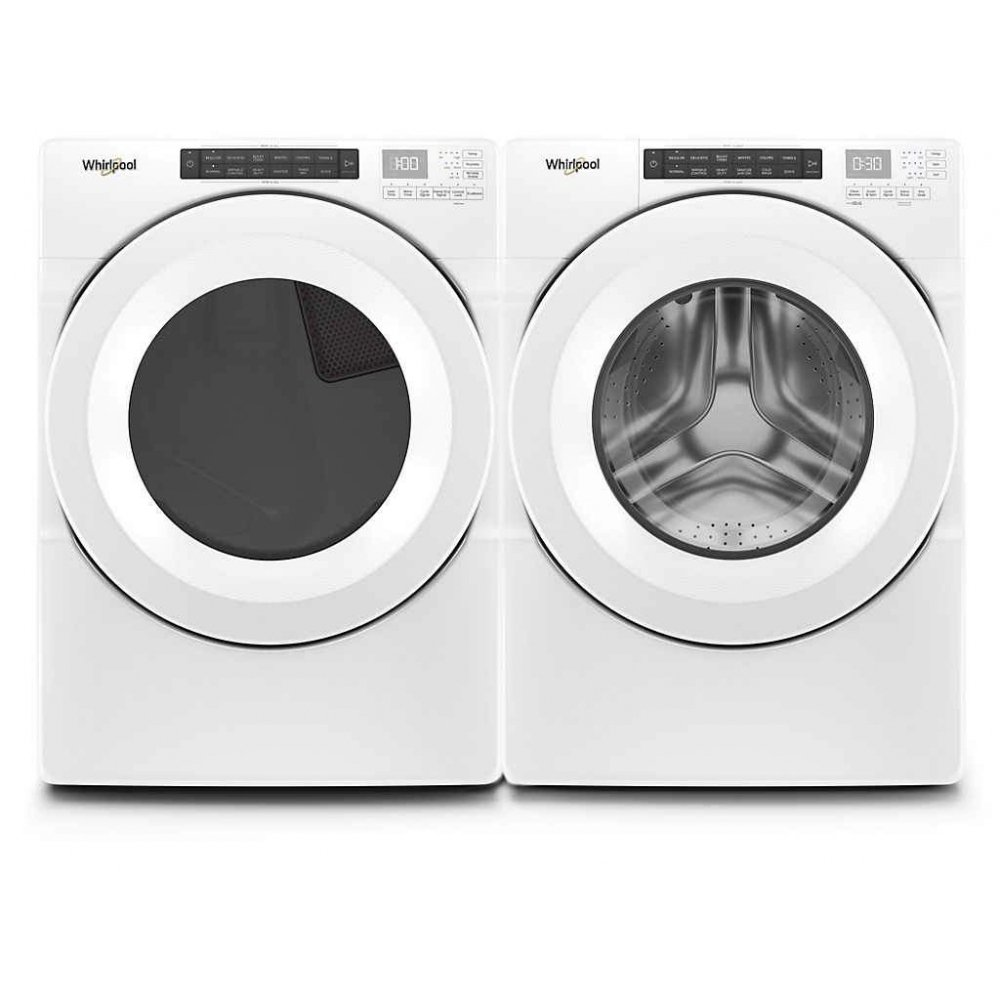 "Whirlpool WFW560CHW & WGD5620HW, Front Load Washer, 27"" Width, ENERGY STAR Certified, 5.0 Capacity, 37 Wash Cycles, Dryer, 27"" Width, Gas Dryer, 7.4 Capacity, 36 Dry Cycles"