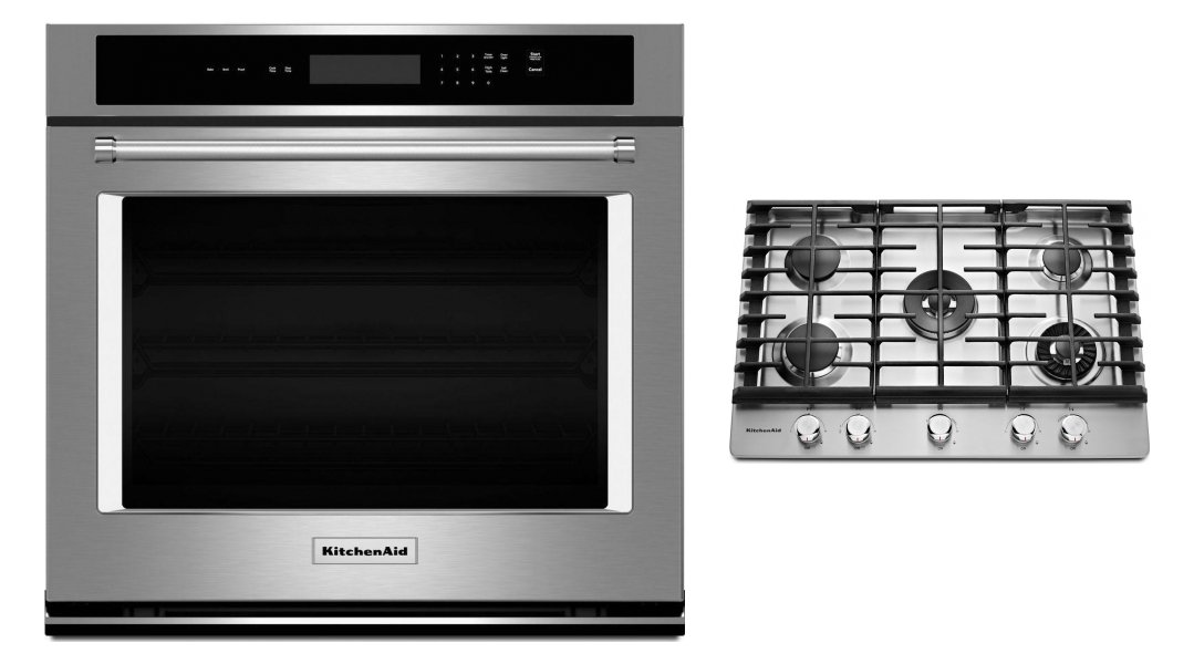 Kitchenaid Wall Oven Cooktop Appliance Package Cooktop Kcgs950ess Single Wall Oven Kost100ess Canadian Appliance Source